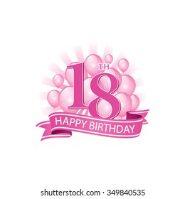 18th pink happy birthday logo with balloons and burst of light
