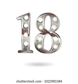 18th silver anniversary logo, ten years birthday celebration solated on white background