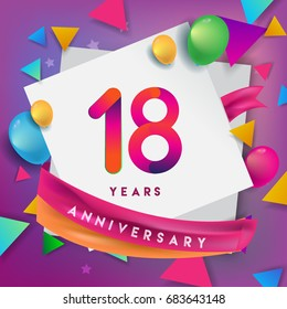 18th Years Anniversary Celebration Design, balloons and ribbon, Colorful design elements for banner, invitation, greeting card your eighteen birthday celebration party.