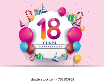 18th years Anniversary Celebration Design with balloons and gift box, Colorful design elements for banner and invitation card.
