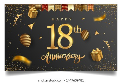 18th years anniversary design for greeting cards and invitation, with balloon, confetti and gift box, elegant design with gold and dark color, design template for birthday celebration.