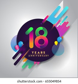 18th years Anniversary logo with colorful abstract background, vector design template elements for invitation card and poster your eighteen celebration