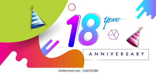 18th years anniversary logo, vector design birthday celebration with colorful geometric background and futuristic elements