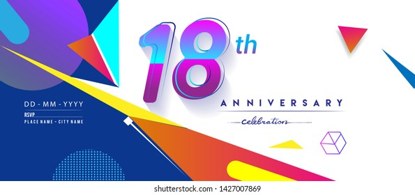 18th years anniversary logo, vector design birthday celebration with colorful geometric background and circles shape.