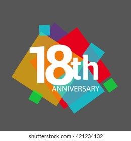 18th years anniversary logo, vector design isolated on colorful geometric background, for birthday celebration.