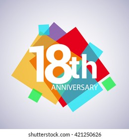 18th years anniversary logo, vector design birthday celebration with colorful geometric isolated on white background.