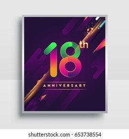 18th years anniversary logo, vector design for invitation and poster eighteen years birthday celebration with colorful abstract background isolated on white background.