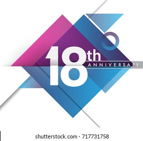 18th years anniversary logo, vector design birthday celebration with geometric isolated on white background.