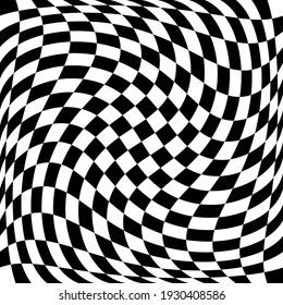 18x18 Twisted ChessBoard Pattern. Vector Race Flag Pattern. 18x18 Twisted Chess Race Pattern.