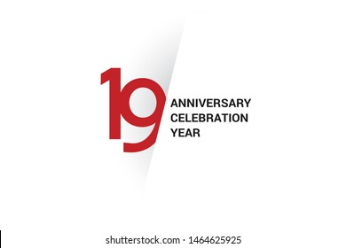 19 anniversary, minimalist logo. 19th jubilee, greeting card. Birthday invitation. year sign. Red space vector illustration on white background - Vector