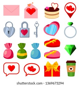 19 colorful cartoon valentine elements. Romantic date invitation decor. Love themed vector illustration for icon, stamp, label, certificate, brochure, gift card, poster or banner decoration