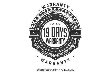 19 days warranty icon vintage rubber stamp guarantee