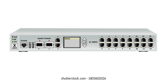 19 inch rack multiplexer-switch for Ethernet and E1 streams . Has 2 SFP ports, 2 Ethernet ports (RJ45), 16 E1 ports (RJ45) and 2 USB ports and management screen. Vector illustration.