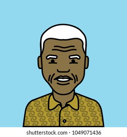 19 March 2018, Iconic Vector Illustration Nelson Mandela South African anti-apartheid