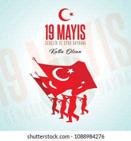 19 mayis Ataturk'u anma, genclik ve spor bayrami. Translation from turkish: 19th may commemoration of Ataturk, youth and sports day. Turkish holiday greeting card vector illustration.