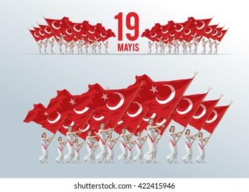 19 mayis Ataturk'u Anma, Genclik ve Spor Bayrami bayraklar, translation- 19 may Commemoration of Ataturk, Youth and Sports Day, graphic design to the Turkish holiday flags