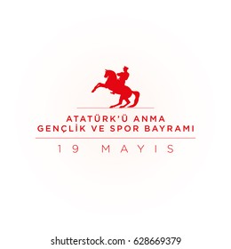 19 mayis Ataturk'u Anma, Genclik ve Spor Bayrami greeting card design. 19 may Commemoration of Ataturk, Youth and Sports Day. Vector illustration.