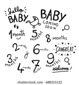 1-9 months baby word vector set illustration