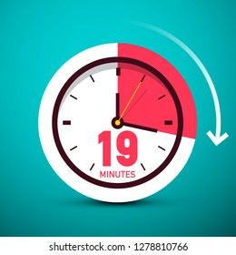 19 Nineteen Minutes Clock Icon. Vector Time Symbol with Arrow.