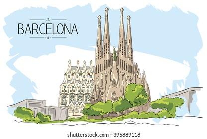 19 November 2014, Barcelona Sagrada Familia illustration. Vintage illustration, hand drawn, colored sketch