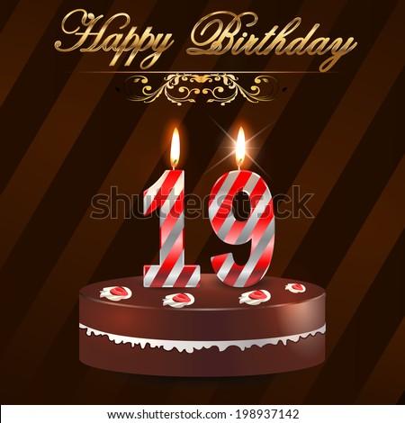 19 Year Happy Birthday Card Cake Stock Vector Royalty Free