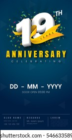 19 years anniversary invitation card - celebration template design , 19th anniversary modern design elements, dark blue background - vector illustration