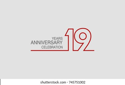 19 years anniversary linked logotype with red color isolated on white background for company celebration event