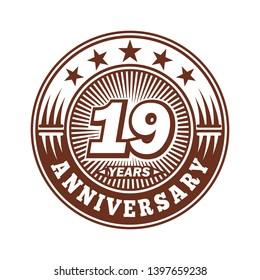 19 years anniversary. Anniversary logo design. Vector and illustration.