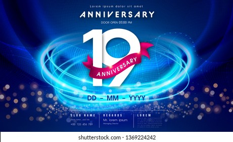 19 years anniversary logo template on dark blue Abstract futuristic space background. 19th modern technology design celebrating numbers with Hi-tech network digital technology concept design elements.