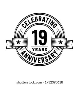 19 years logo design template. 19th anniversary vector and illustration.