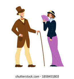 1900 Victorian People Lady And Gentleman Vector. Victorian Style Couple Man With Cane And Woman With Fan In Retro Clothes. Characters Elegant Vintage Clothing Flat Cartoon Illustration