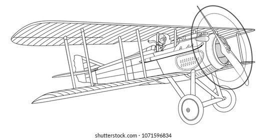 1900s French AirForce Spad XIII lineart