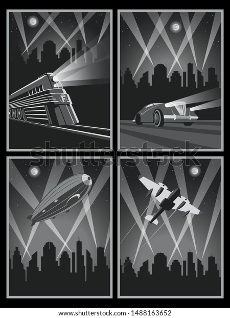1920s 1930s Art Deco Style Posters Stock Vector Royalty Free 1488163652