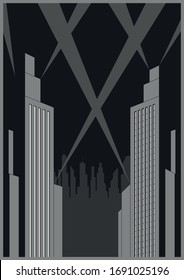 1920s, 1930s Style Urban Cityscape, Skyscrapers, Rays of Light, Art Deco Poster