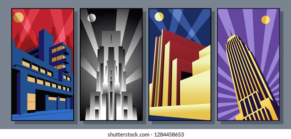 1920s Architecture Style Art Deco and Bauhaus Buildings Posters