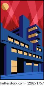 1920s Art Deco Architecture Poster Modern Constructivism  Style