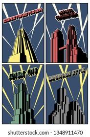 1920's Art Deco, Constructivism, Bauhaus Style Buildings Poster Templates Set