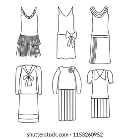 1920s style women's fashion dress vector illustration set