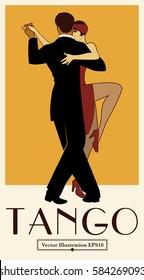 1920s Tango Poster. Elegant couple dancing tango. Retro style