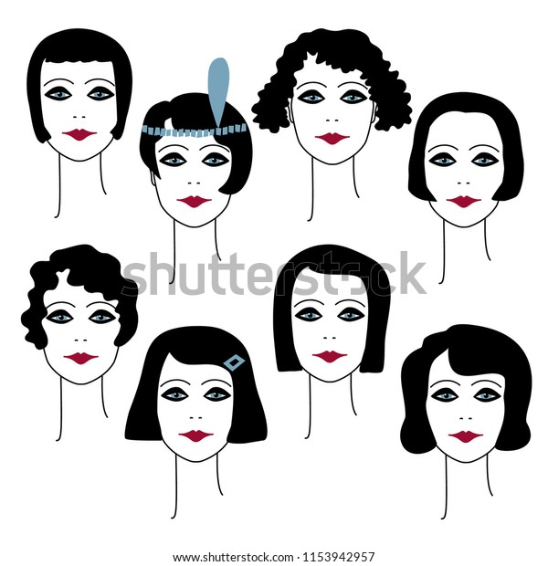 1920s Womens Hairstyles Makeup Vector Illustration | Beauty ...