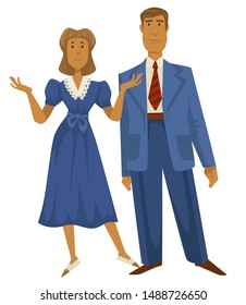 1940s couple, man in retro oversize suit and woman in dress with lace, 40s fashion style vector. Female and male characters, vintage clothes. Clothing design, old-fashioned outfit, married couple