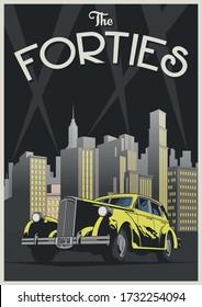 1940s Poster of Retro Car, Buildings, Skyscraper Silhouettes