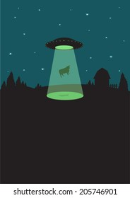 1950s Alien Flying Saucer beams up a cow. Flat illustration