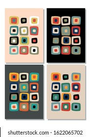 1950s Background, Vintage Color Abstract Pattern, Wall Art Prints Mid Century Modern Style