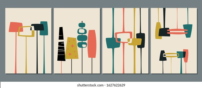 1950s Backgrounds, Patterns, Mid Century Modern Style Shapes and Vintage Colors