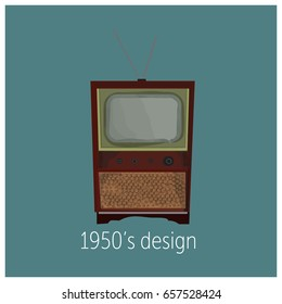 1950s fifties design. retro tv. vintage television. old fashioned. 1950s fifties. 1960s sixties. vrctor illustration card.