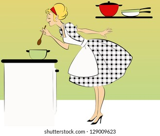 1950's housewife cooking dinner at her kitchen