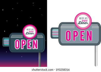 1950s style of advertising isolated on a white background, vector available