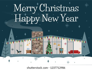 1950s Style Christmas Greeting Card. House, Furniture, Christmas Tree, Garland, Starry Night