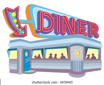 1950s style diner with large neon sign